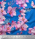 Soimoi Blau Seide Stoff Vogel & Orchideen Blume Stoff