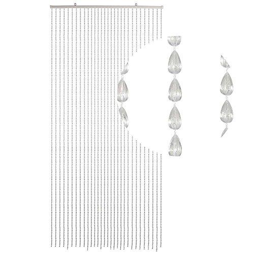 HAB & GUT -DV0294- Türvorhang Tropfen, klar 90x200 cm Perlenvorhang Pailettenvorhang