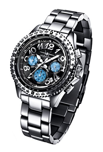 FIREFOX Racer FFS15-102 schwarz/Perlmutt Herrenuhr Armbanduhr Chronograph massiv Edelstahl Sicherheitsfaltschließe 10 ATM Prüfdruck