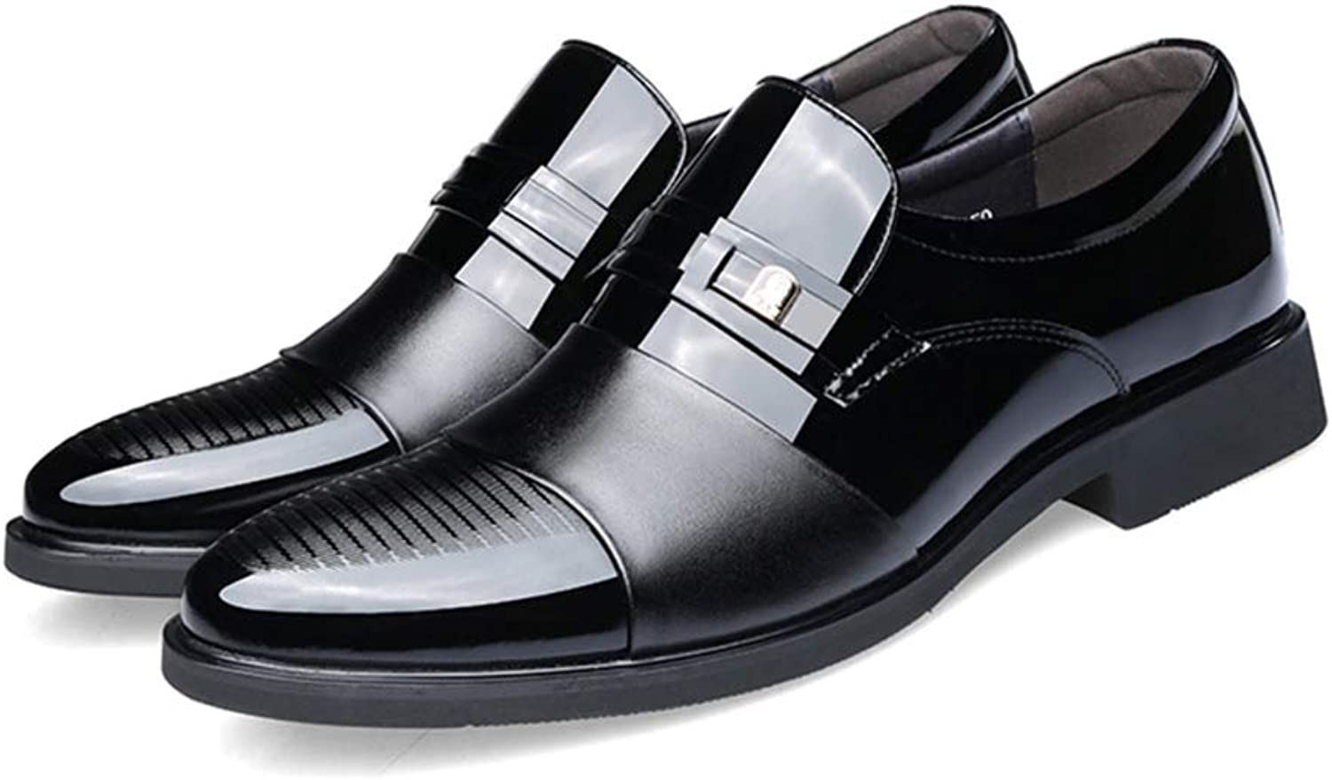 LUCKYHUNTER Men's Business Dress shoes Leather Pointed Wedding Dress shoes,Black-EU40