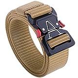 Tactical Belt,1.5 Inch Web Belt, No Holes Quick Release Heavy Duty Web Belt for Men,Tactical Belt for Men (Brown, S 30'-36')
