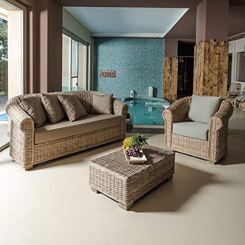 Rosa Splendiani Salon Queen en Rotin Naturel avec Coussins Gris (Un canapé, Deux fauteuils, Une Table Basse)