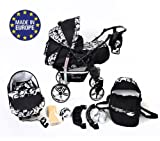 Sportive X2 - Landau pour bébé + Siège Auto - Poussette - Système 3en1 + Accessoires (Système 3en1, fleurs)