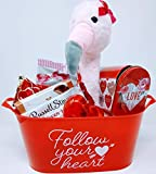 PHS Valentine Follow Heart Animated Sing Dance Plush Flamingo Kiss Gift Russell Heart Pail Bucket Tote Container Gourmet Carmel Chocolate Strawberry Crème Treats Stover Mini Assorted Wrapped Pieces