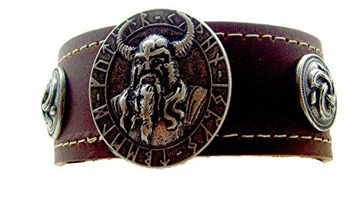 Lederarmband Odins Amulette Farbe Braun Trischel