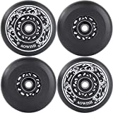 AOWISH 4-Pack Inline Skate Wheels Outdoor Asphalt Formula 90A Aggressive Blades Roller Skates Replacement Wheels with Speed Bearings ABEC 9 and Spacers (Black, 80mm)