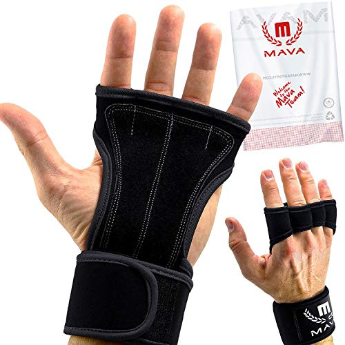 Mava Sports Workout Gloves with Wrist Wraps Support and Full Palm Leather Padding - Perfect for Weight Lifting, Cross Training, Pull Ups, WOD and Powerlifting for Men and Women (Black)