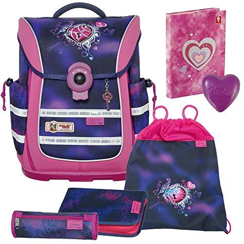 Lovely - Herz - McNeill Ergo Light Pure mit Blinklicht Schulranzen-Set 4tlg. - HEFTBOX und Barbie-Herz mit Überraschung GRATIS DAZU