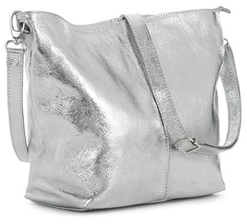 LIATALIA - Hobo-bag/Schultertasche im echtes italienisches Leder - ADAL - (Metallish - Silber)