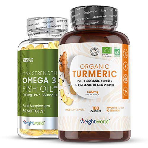 Joint Complex Pack - Organic Turmeric Curcumin Tablets with Omega 3 Fish Oil Capsules, Joint Supplements Health Pack, Turmeric with Black Pepper & Ginger (1520mg) Cod Liver Oil Tablets (3000mg)