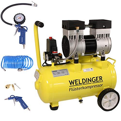 Aktionsset WELDINGER FlüsterWeldinger Kompressor FK 120 pro 980 W Luftabgabe 110 l/min ölfrei + Druckluftset 6-teilig