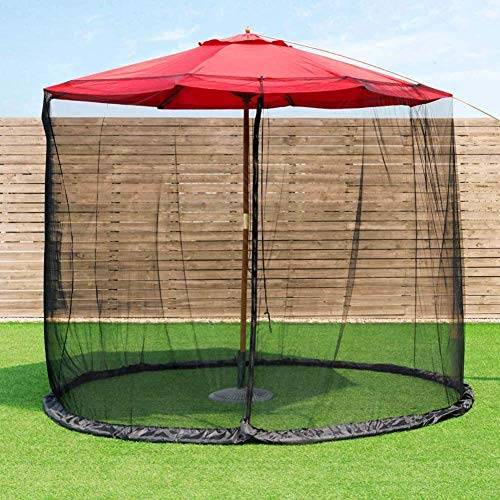 GOHHK Umbrella Mosquito Patio Table Screen and net, 9-Foot Umbrella Table Screen, Polyester, Single Door, Zipper Entrance - Black
