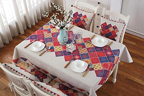 BLUELSS Luxurious Housse Table ronde Table Rectangle nappe de mariage Hôtel chiffon chiffon de tissu lavable en machine,Table 4,110cm X 110cm