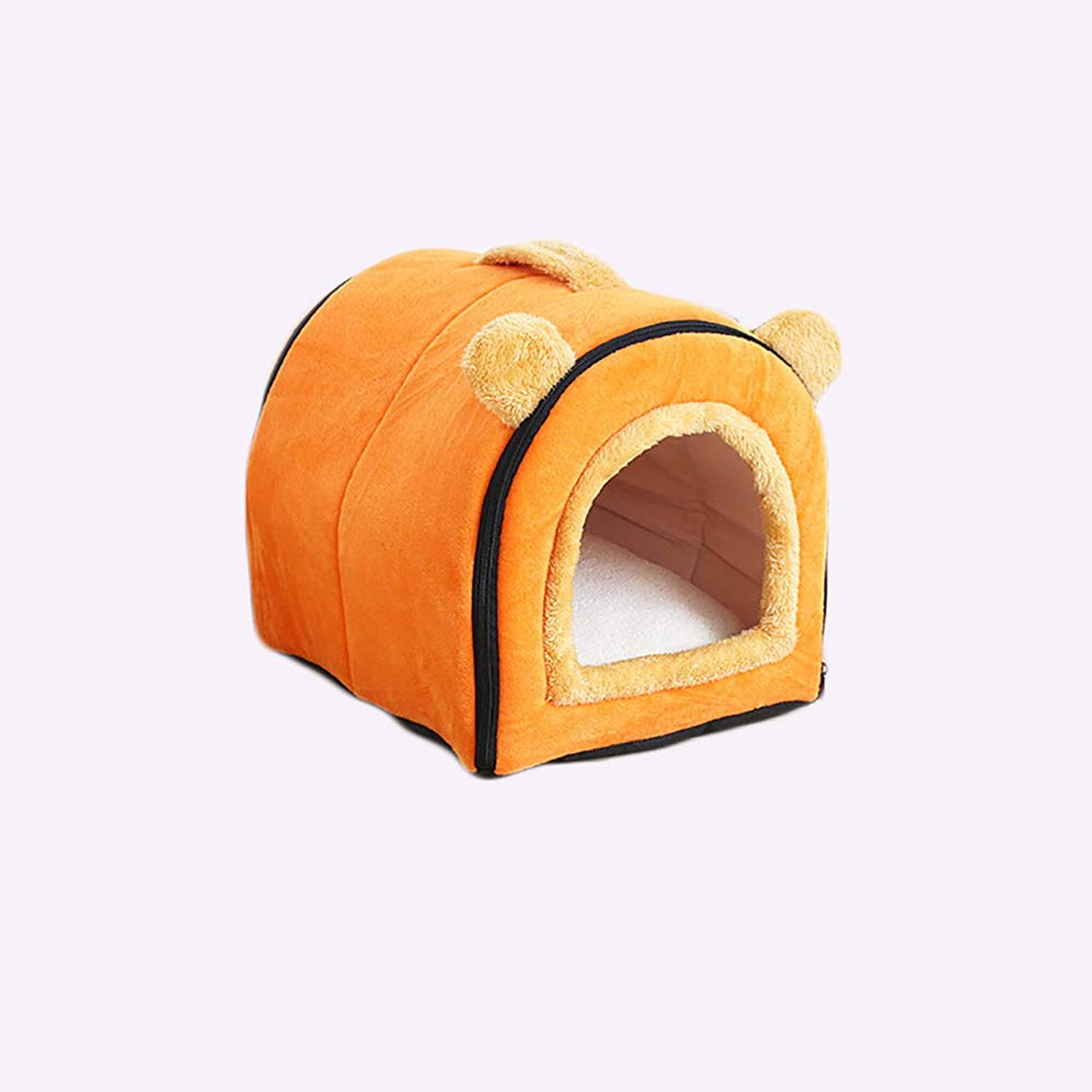 Cat and Dog Pet Mats, Pet Bed for Small Dogs,Breathable Removable and Washable Warm Cat Beds, orange (Size   S(35x29x29cm))