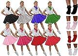 ILOVEFANCYDRESS - Falda de lunares rojos y blancos, bufanda y calcetines blancos con volantes – Falda corta roja con lunares blancos, bufanda y calcetines de bobby blancos, talla 36-48