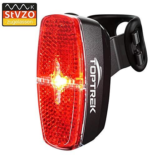 toptrek Fahrrad Rücklicht StVZO Zugelassen LED Rückleuchte mit Zmark Reflektor, Fahrradrücklicht Wasserdicht IPX4 Fahrradlicht Hinten für Rennrad MTB (Schwarz)