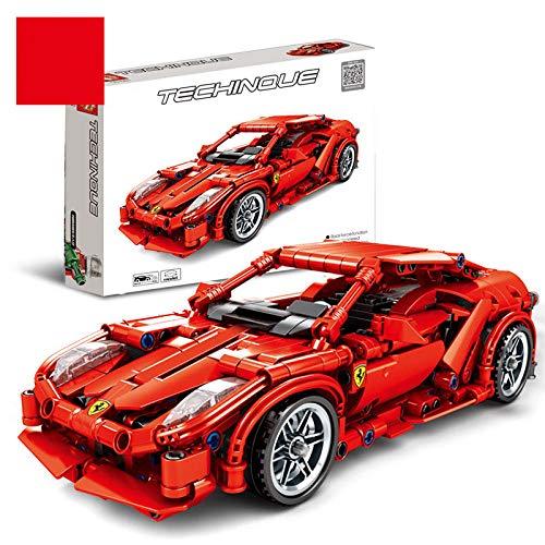 SXOH Spielzeug für Kinder Porsche Sportwagen Modell Kinder pädagogisch zusammengebaut Baustein Ziegel Spielzeug Geschenk kompatibel-Ferrari-Rennwagen