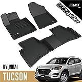 3D MAXpider - L1HY09801509 Hyundai Tucson 2019 2020 2021 Custom Fit All-Weather Car Floor Mats Liners, Kagu Series (1st & 2nd Row, Black)