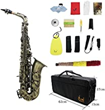 ammoon Antique Finish Bend Eb E-flat Alto Saxophone Sax Shell Key Carve Pattern with Case Gloves Cleaning Cloth Straps Brush (Style 1)