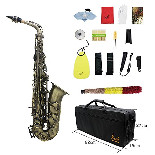ammoon Antique Finish Bend Eb E-flat Alto Saxophone Sax Shell Key Carve Pattern with Case Cleaning Cloth Straps Brush (Style 1)