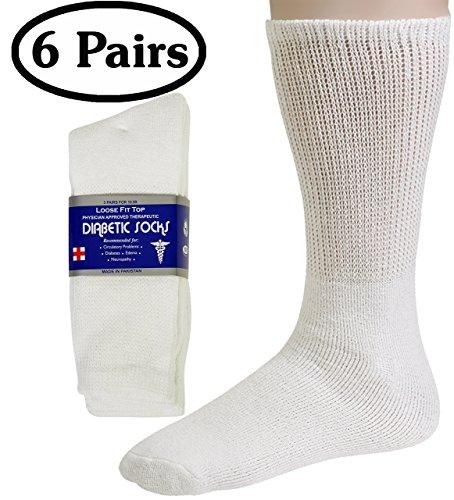 Diabetic Socks Mens Cotton 6-Pack Crew White By DEBRA WEITZNER crew/white Mens 13-15