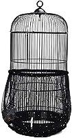 Hepatton 鳥ケージカバー 鳥かご防塵カバー スプラッシュプルーフフェザープルーフ 伸縮性 通気性 ナイロン円形 ケージシードキャッチャースターメッシュネット 黑