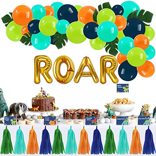 Dinosaur Dessert Table Party Supplies Set- Food Labels Place Cards Gold Roar Foil Balloons Arch Palm Leaves Tissue Paper Tassel Garland Kids Dino Dig T-Rex Party Ideas Decoration