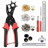 Leather Hole Punch Tool for Belt - Multi Hole Sizes Puncher for Belts, Watch Bands, Straps, Dog Collars, Saddles, Shoes, Fabric, DIY Home or Craft Projects - with 5/32' Grommet Eyelet Kit 100 Sets