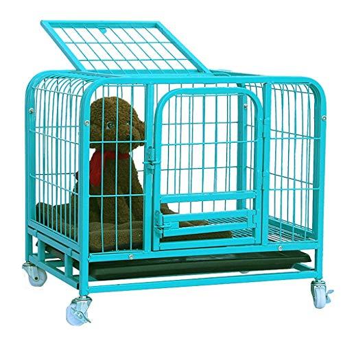 XBSXP Hundekisten Blue Dog House Kleine Hunde Mittlere HundeGroße Hundekiste Haustier-Zwinger Stark mit Vier Rädern, Außen-Innen-Gebrauch Kisten-Zwinger (Größe: M