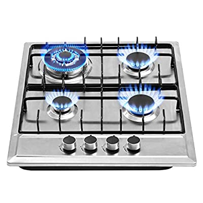 24?x20? Built in Gas Cooktop 4 Burners Stainless Steel Stove with NG/LPG Conversion Kit Thermocouple Protection and Easy to Clean (20Wx24L)