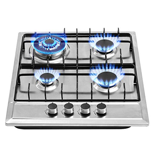 24″x20″ Built in Gas Cooktop 4 Burners Stainless Steel Stove with NG/LPG Conversion Kit Thermocouple Protection and Easy to Clean (20Wx24L)