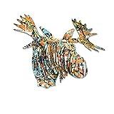 Cardboard Safari Recycled Cardboard Animal Taxidermy Moose Trophy Head, Modern Art Prints, Drip Fred Large