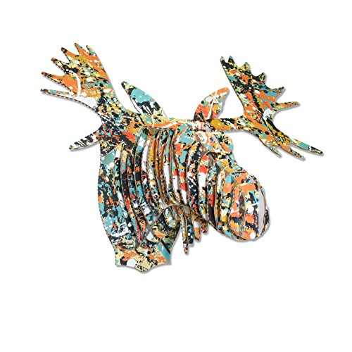Cardboard Safari Recycled Cardboard Animal Taxidermy Moose Trophy Head, Modern Art Prints, Drip Fred Small