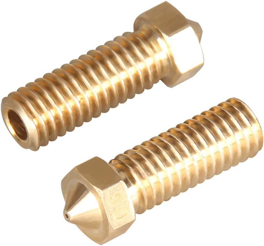 5pcs M6 1.75mm Extruder Stainless Steel//Brass Nozzle 0.2//0.3//0.4//0.5//0.6mm for 3D Printer Head Volcano Nozzle,Baugger