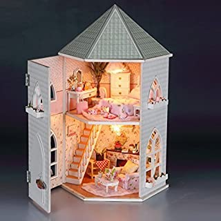 Rylai 3D Puzzles Wooden Handmade Miniature Dollhouse DIY Kit w  Light -Love  Fort Series 358178e07f2c