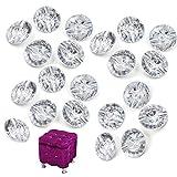 CHENKEE 60 botones de cristal transparente para tapicería, clavos, tachuelas de diamante con hebilla de metal para sofá, cabeceros, muebles de pared, decoración de manualidades