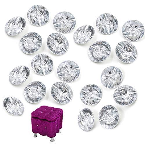 CHENKEE 60 bottoni trasparenti per tappezzeria, con cristalli di cristallo, per tappezzeria, con fibbia in metallo, per divani, testiere e mobili da parete, decorazione fai da te