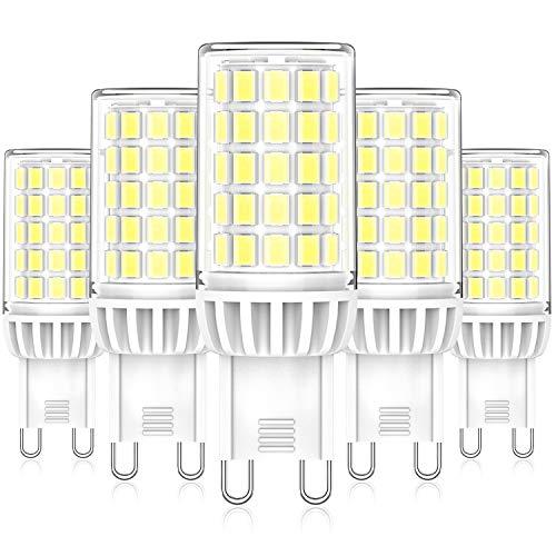 Bombillas LED G9 6W, Blanco Frío 6000K, Repuesto Lámparas Halógenas 50W 60W, LED G9 ángulo Haz de 360° Sin Parpadeo, No Regulable CA 220-240 V, Paquete de 5, Eco.Luma