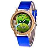 Damen Armbanduhr Classic Analog Quarz Leder Blau6783 19804