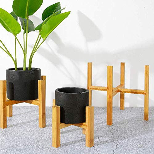xiegons3 Macetero Soporte, Bambú en Maceta Planta Soporte con Pie Almohadilla Medio Siglo Madera Macetero Soporte para Casa, Jardín y Patio - como Imagen Show, m,1pc