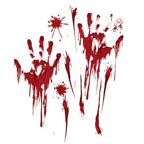 ABOOFAN Halloween-Wandaufkleber, für Schaufenster, Bluttropfen, Handabdruck, Fenster-Aufkleber für Wohnzimmer, Schlafzimmer, 3 Stück