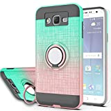 Galaxy J7 2015 Case,Galaxy J7 Nxt/Galaxy J7 Core/Galaxy J7 Neo Case with HD Screen Protector,AYMECL 360 Degree Ring Holder Gradient Dual Layer Protective Case for Galaxy J700-BG Mint&Rose Gold