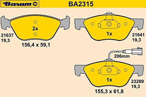 BARUM BA2315 Kit de patins de frein, disque de frein