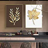 Hoja moderna de plantas de oro arte abstracto pintura de pared lienzo carteles e impresiones nórdicos cuadros de pared para la decoración de la sala de estar hogar