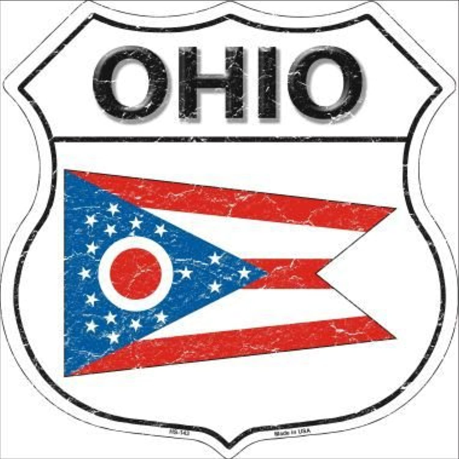 Pride Plates Ohio State Flag Highway Shield Metal Sign HS143