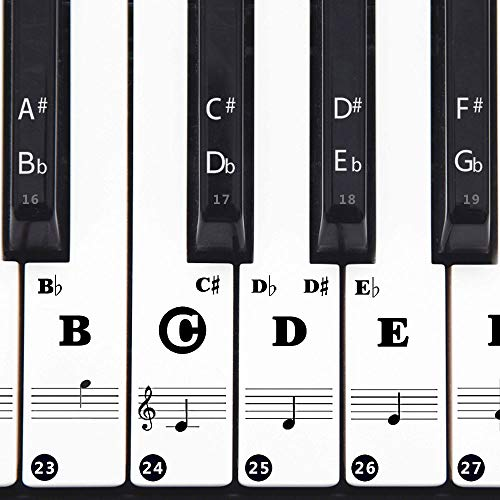 Colorful Piano Keyboard Stickers Beginners 88/61/49/37 Keys Full Set Stickers Removable and Transparent, Leaves No Residue for Kids Learning Piano (88 keys all black)