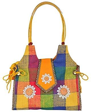 Roy Jute Handicrafts Women's Handbag (RJH 06_Multicolored)