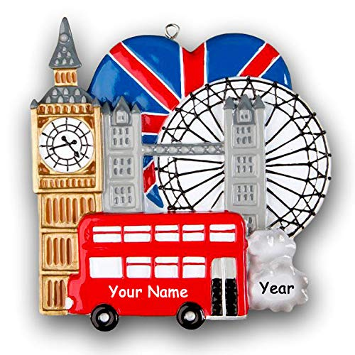 Personalized London England Christmas Tree Ornament Sightseeing and Tourist Travel Monuments with Custom Name and Date