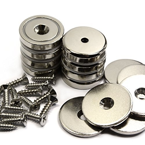 CMS Magnetics 112 LB Powerful Mounting Neodymium Magnets w/ #10 Countersunk Hole - Dia 1.57 Cup Magnets Made of Rare Earth Magnets - Heavy Duty Pot Magnets w/Matching Strikers and Screws - 8 Sets