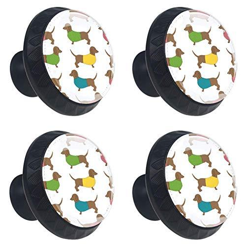 TIKISMILE Schattige Dachshund Hond Lade Knop Trekhaak Kristal Glas Cirkel Vorm Kast Trekkers Kast Knopen met Schroeven voor Thuis Kast Cupboard (4 Stuks)